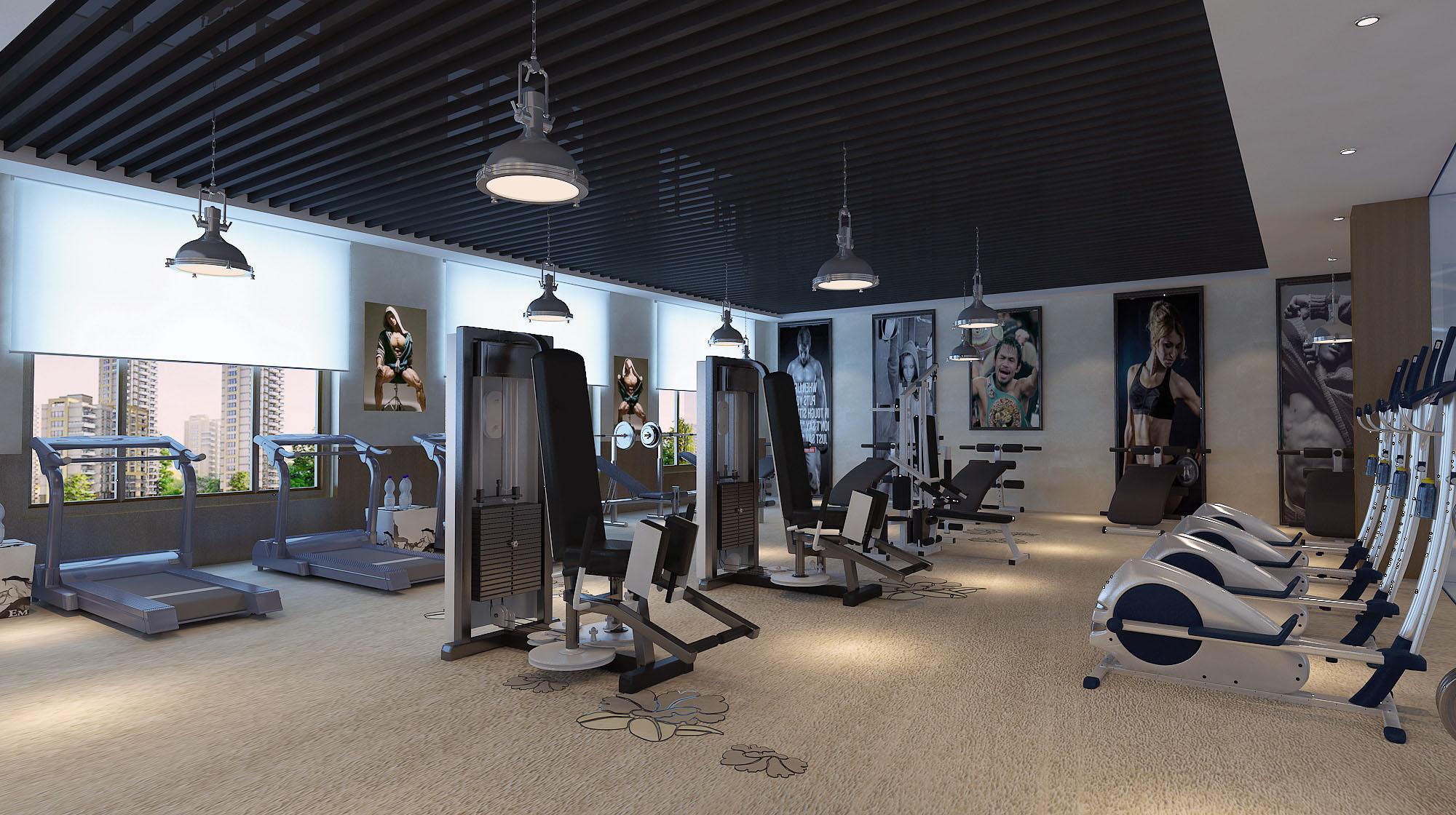 苏州私人健身会所装修|高端健身房装修|瑜伽馆装修设计图片